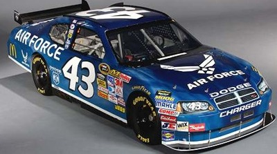 #43 Dodge with the new Richard Petty Motorsports. Air Force is 1 of 3 sponsors