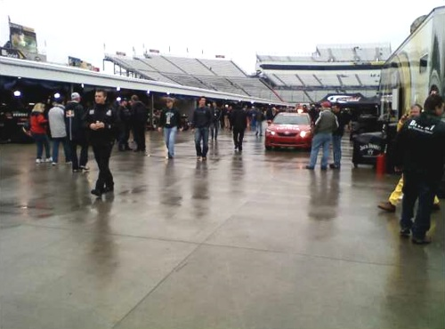 Rain soaked garage and pits at Martinsville Speedway